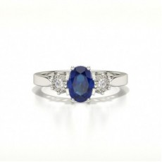 Oval Three Stone Blue Sapphire Ring