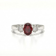 Oval Three Stone Ruby Ring