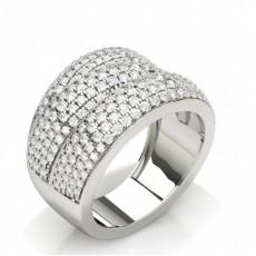 Round White Gold Statement Diamond Rings