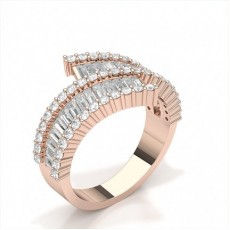 Baguette Rose Gold Statement Diamond Rings