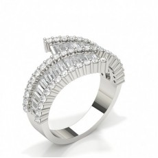 Pave Setting Baguette Diamond Fashion Ring
