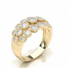 Round Yellow Gold Diamond Half Eternity Rings