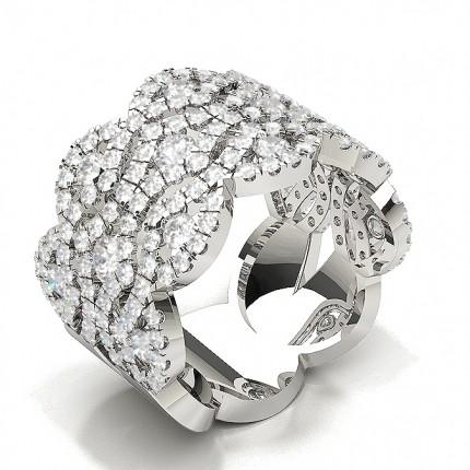 Pave Setting Round Blue Sapphire Fashion Ring