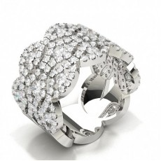 Prong Pave Setting Round Diamond Designer Ring