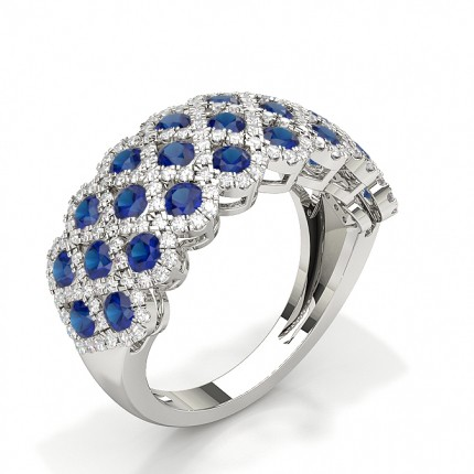 Full Setting Round Blue Sapphire Fashion Ring