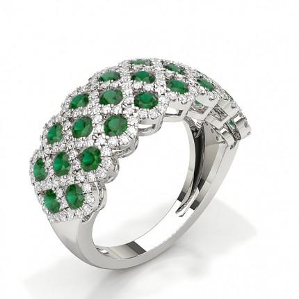 Pave Setting Round Ruby Fashion Ring