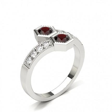 Pave Setting Round Emerald Fashion Ring