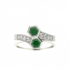 Full Setting Round Emerald Fashion Ring