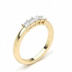 Princess Yellow Gold Half Eternity Diamond Rings