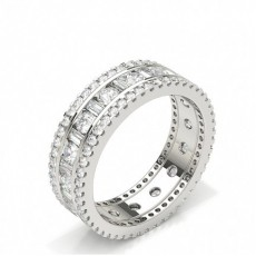 Baguette White Gold Full Diamond Eternity Rings