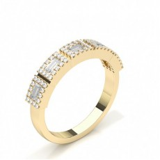 Baguette Yellow Gold Half Eternity Diamond Rings