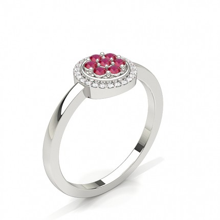 Prong Setting Ruby Cluster Ring