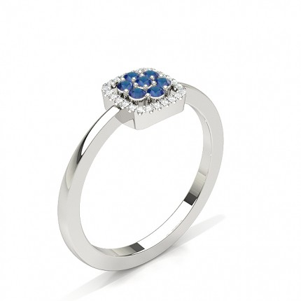 Round Cluster Blue Sapphire Ring