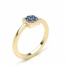 Round Yellow Gold Cluster Engagement Rings