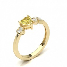 Heart Yellow Gold Statement Diamond Rings