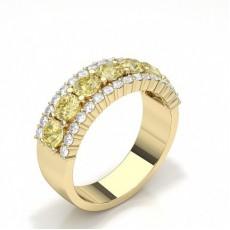 Pear Yellow Gold Half Eternity Diamond Rings