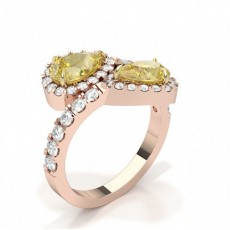 Pear Rose Gold Two Stone Diamond Rings