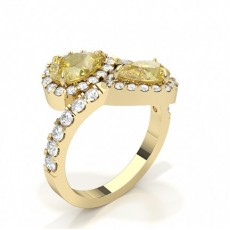 Pear Yellow Gold Two Stone Diamond Rings