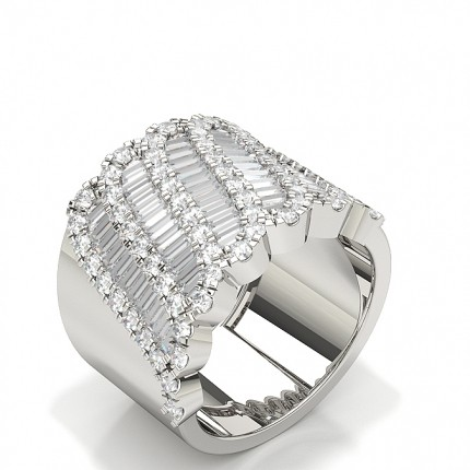 Round And Baguette Diamond Fashion Ring