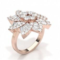 Baguette Rose Gold Diamond Rings