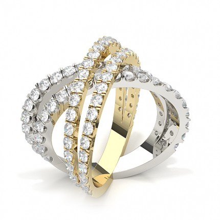 Pave Setting Round Shaped Diamond Cluster Ring