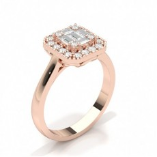 Baguette Rose Gold Diamond Cluster Rings
