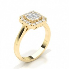 Baguette Yellow Gold Diamond Cluster Rings