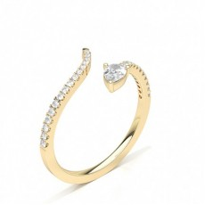 Pear Yellow Gold Statement Diamond Rings