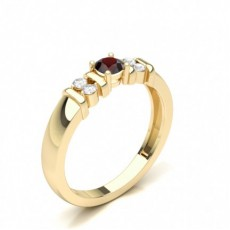 Round Yellow Gold Side Stone Diamond Rings