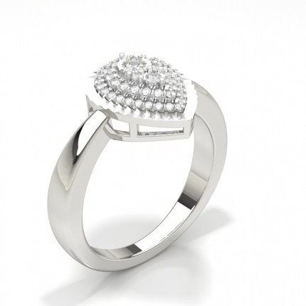 Plate Prong Setting Round Diamond Cluster Ring