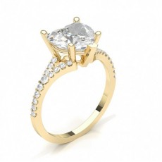 Heart Yellow Gold Classic Solitaire Diamond Engagement Rings