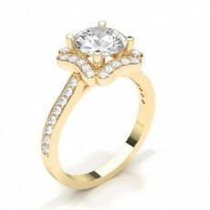 Marquise Yellow Gold Halo Diamond Engagement Rings
