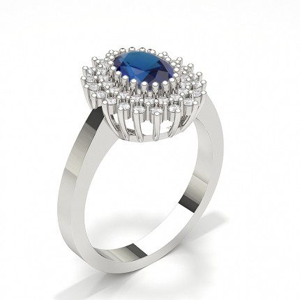 Prong Blue Sapphire Oval Halo Ring