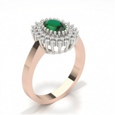 Oval Rose Gold Cluster Diamond Rings