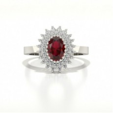 Prong Ruby Oval Halo Ring