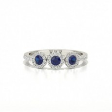 Full Bezel Setting Round Three Stone Blue Sapphire Ring