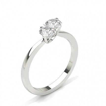 4 Prong Setting Plain Two Stone Ring