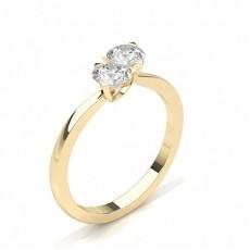 Round Yellow Gold Two Stone Diamond Rings