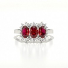 4 Prong Setting Oval Three Stone Ruby Ring