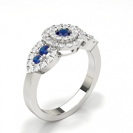 Prong Round Cluster Blue Sapphire Ring