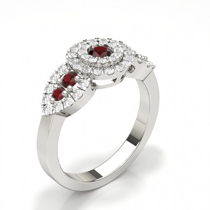 Prong Round Cluster Ruby Ring