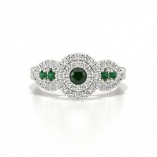 Prong Round Cluster Emerald Ring