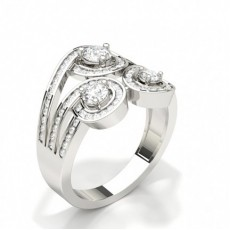 3 Prong Setting Round Diamond Fashion Ring