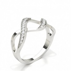 Round Silver Promise Diamond Rings