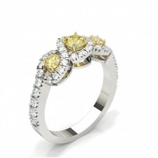 Three Stone Yellow Diamond Engagement Ring