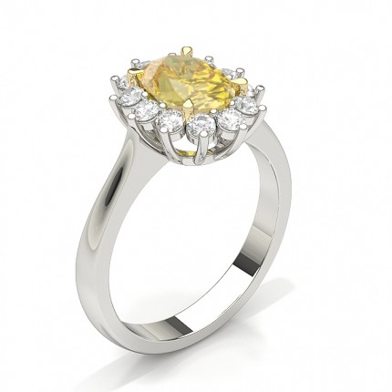 Prong Set Yellow Diamond Floral Halo Engagement Ring
