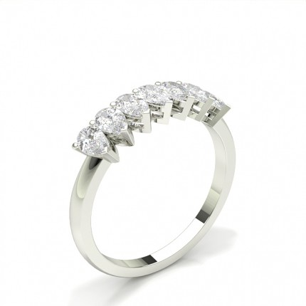 Prong Setting Pear Seven Stone Ring