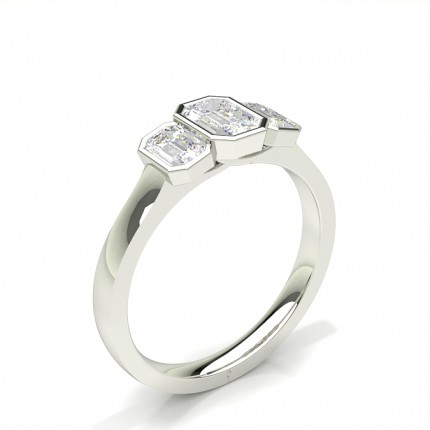 Bezel Setting Emerald Trilogy Diamond Engagement Ring