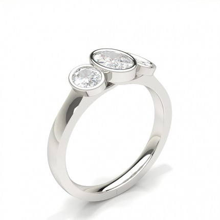 Bezel Setting Oval Trilogy Diamond Engagement Ring