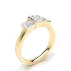 Bezel Setting Radiant Trilogy Diamond Engagement Ring